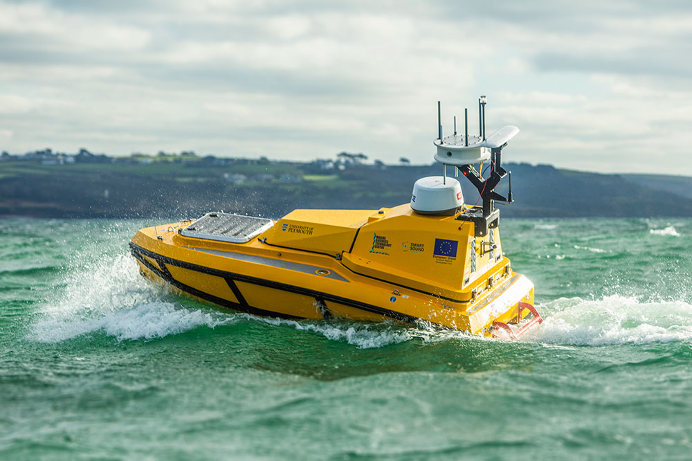 The new yellow unmanned vessel at sea