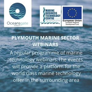 Small advert for the Plymouth Marine sector webinars
