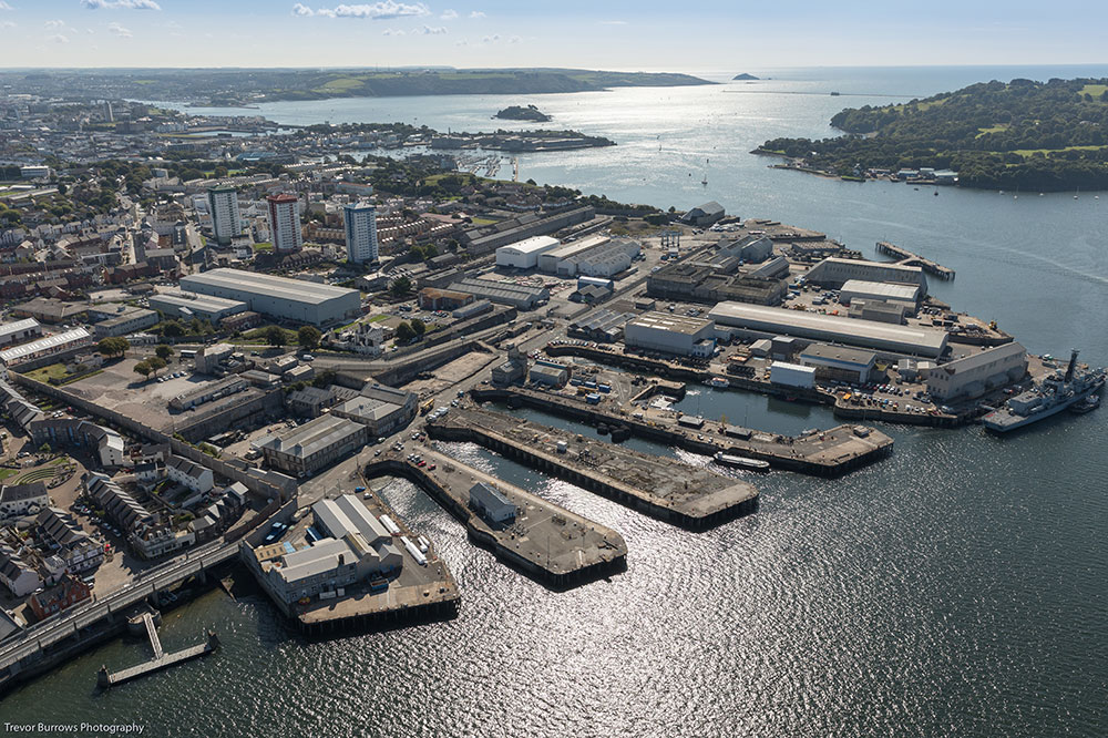 Aerial view of Devonport dockyard in Plymouth